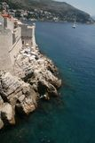 Dubrovnik beach by city wall. Croatia. Stock Images