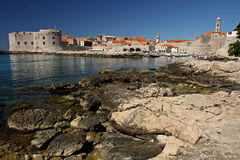 Dubrovnik beaches. Rocky beach near the city of Dubrovnik Stock Images
