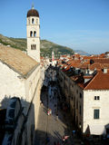 Dubrovnik bell tower with necktie. View of Dubrovnik main street with bell tower with necktie Stock Images