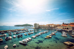 Dubrovnik boat harbor Royalty Free Stock Photo
