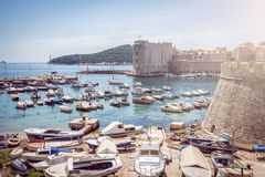 Dubrovnik boat harbor Royalty Free Stock Photography