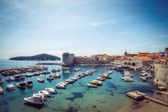 Dubrovnik boat harbor Stock Photography
