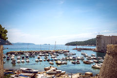 Dubrovnik boat harbor Royalty Free Stock Photos