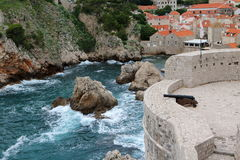 Dubrovnik 8. Bokar Tower and the harbour it is guarding, in Dubrovnik, Croatia Stock Photo