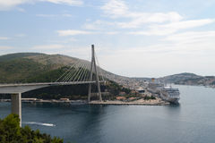 Dubrovnik bridge and cruise port Stock Photo