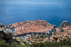 Dubrovnik cable car moving down to the city Royalty Free Stock Image