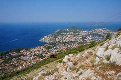 Dubrovnik cable car. View of Dubrovnik cable car from Mount Srd - travel background Royalty Free Stock Images