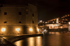 Dubrovnik castle at night Royalty Free Stock Photo