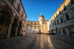 Dubrovnik Cathedral in Dubrovnik old town, Croatia. Dubrovnik Cathedral and Dubrovnik Museums in the old town of Dubrovnik , Croatia - Prominent travel stock photos
