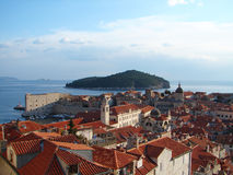 Dubrovnik center. Dubrovnik, Croatia. Town center sight  from city wall Royalty Free Stock Photo