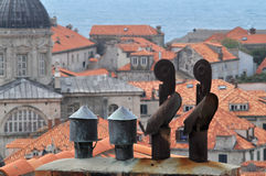 Dubrovnik chimneys. Chimneys over roofs of the Dubrovnik, surrounded by the Adriatic sea. Croatia Stock Photos