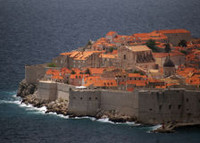Dubrovnik citadel. The medieval town of Dubrovik, Croatia, Adriatic See, seen from the shore Royalty Free Stock Image