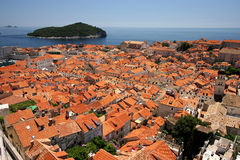 Dubrovnik city and Lokrum island. In the Adriatic Sea Royalty Free Stock Photography