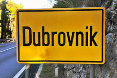 Dubrovnik city road sign on yellow board Royalty Free Stock Image