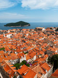 Dubrovnik city view with tower and island Stock Image