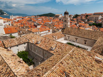 Dubrovnik city view with tower and private yard Stock Photos