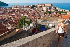 Dubrovnik City Walls. Walking along the city walls in Dubrovnik, Croatia Stock Images