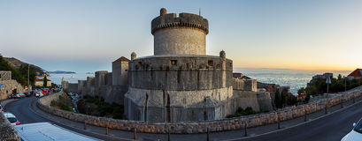 Dubrovnik City Walls at Dusk Stock Image