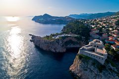 Dubrovnik coastline aerial sunset view near Lovrijenac. Dalmatia region of Croatia Stock Image