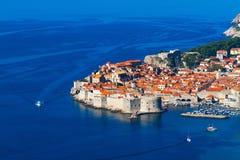 Dubrovnik, Croacia, mar del witn de la visión superior Fotos de archivo libres de regalías