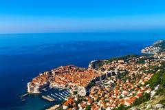 Dubrovnik, Croacia, mar del witn de la visión superior Imagenes de archivo