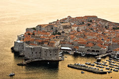 Dubrovnik in Croatia. Sunset in Dubrovnik, view of an old city, Croatia Stock Photography