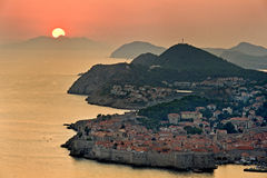 Dubrovnik in Croatia. Sunset in dubrovnik,view of an old city, Croatia Stock Images