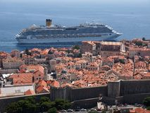 Dubrovnik, Croatia. JULY 16: The Costa Favolosa cruise ship passes very close to the old town walls, in  on July 16, 2011 Stock Photography