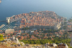 Dubrovnik, Croatia from above. An aerial shot of the old walled city of Dubrovnik, Croatia Royalty Free Stock Photography