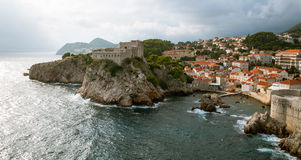 Dubrovnik Croatia. Aerial view of Dubrovnik with stormy clouds, Croatia stock photos
