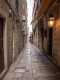 Dubrovnik, Croatia - april 2019: Old City of Dubrovnik. One of many narrow streets of medieval town royalty free stock photo