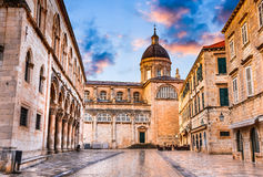 Dubrovnik, Croatia. Assumption Cathedral in old city of Ragusa one of the prominent tourist destinations on the Mediterranean royalty free stock photo