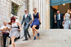 Guests at wedding ceremony at church in Dubrovnik royalty free stock photography