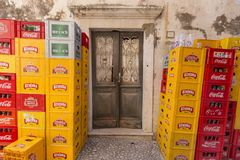 Beer crates royalty free stock photos