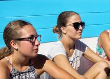 Young girls sitting on ferry from Dubrovnik to Lokrum royalty free stock photos