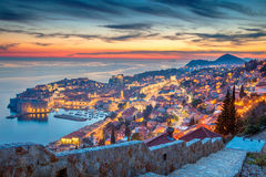 Dubrovnik. Dubrovnik, Croatia. Beautiful romantic old town of Dubrovnik during sunset stock image