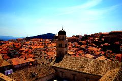 Dubrovnik Croatia. Coming upper and upper it is nice to enjoy magnificent view of old city of Dubrovnik. People and other objects look very small from the wall stock photos