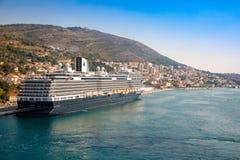 Dubrovnik, Croatia - 20.10.2018: Cruise ship moored in croatian port of Dubrovnik, Croatia royalty free stock photos
