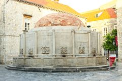 Great Onofrio Fountain in Dubrovnik. DUBROVNIK, CROATIA - JULY 22, 2017 : The Great Onofrio Fountain in the old town of Dubrovnik, Croatia Royalty Free Stock Images