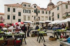 Dubrovnik (Croatia) Market. DUBROVNIK, CROATIA - MAY 16, 2013: Busy day at Dubrovnik's market. On 16 May 2013 in Dubrovnik, Croatia Stock Photo