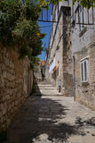Dubrovnik, Croatia, narrow alley in the old city. Royalty Free Stock Image