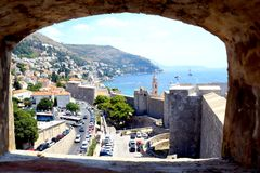 Dubrovnik Croatia. It is nice to use the opportunity to enjoy gorgeous views of the sea bay with small and big ships and boats and old city of Dubrovnik royalty free stock photos