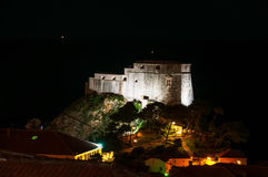 Dubrovnik, Croatia. Night view of illuminated Saint Lawrence fortress Lovrijenac. In Dubrovnik, Croatia Stock Photography