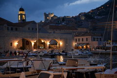 Dubrovnik, Croatia. Night view of the old harbour Stock Images