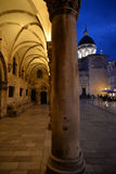 Dubrovnik, Croatia. Night view, town hall portico Royalty Free Stock Photography