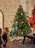 Dubrovnik, Croatia, November 22, 2018. Setting up Christmas Tree in old part stock photo