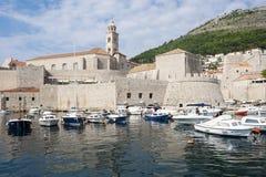 Dubrovnik Croatia Old City Walls with Marina Royalty Free Stock Photo