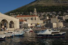 DUBROVNIK/CROATIA - Old harbour and boats Royalty Free Stock Photo