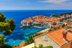 Dubrovnik, Croatia. A panoramic view of the walled city, Dubrovnik Croatia stock image