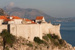 Dubrovnik old town view from the St. Lawrence Fortress stock photography